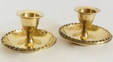 2x - ROUND 6.5x4cm Tall BRASS Candle Holder Set